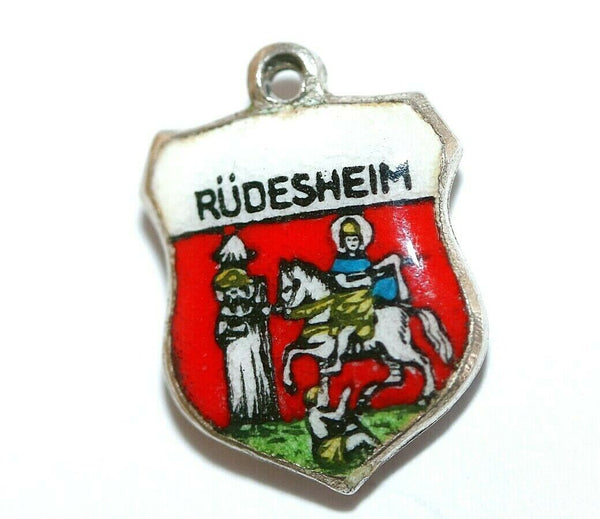 Rudesheim Germany Sterling Silver Enamel Travel Shield Vintage Charm