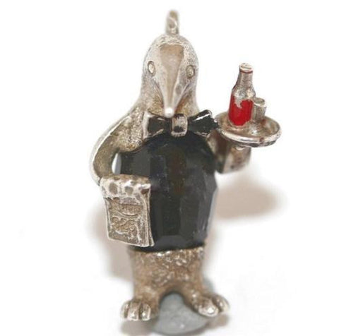 Rare Nuvo Penguin Waiter Sterling Silver Crystal Vintage Charm