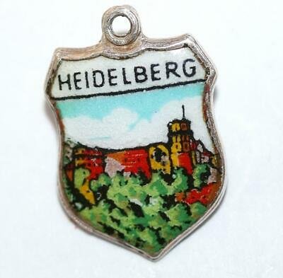 Heidelberg Germany 800 Silver Enamel Travel Shield Vintage Bracelet Charm by EHJ