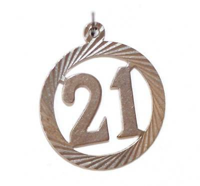Lucky 21 Birthday Sterling Silver Vintage Bracelet Charm 1.3g