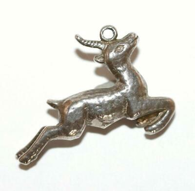 Leaping Deer Antelope Sterling Silver Vintage Bracelet Charm With Gift Box 4.9g