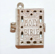 Opening Holy Bible Sterling Silver Vintage Bracelet Charm, Larger 7.3g
