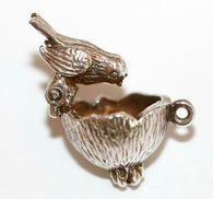 Rare Bird Moving In Nest Sterling Silver 925 Vintage Bracelet Charm 3.5g