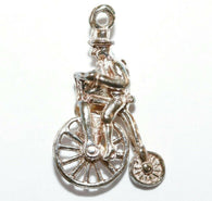 Man Riding Bicycle Sterling Silver Vintage Bracelet Charm With Gift Box 1.1g