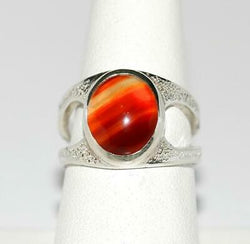 Banded Agate Gemstone Sterling Silver 925 Ring Signed RCK Size 7