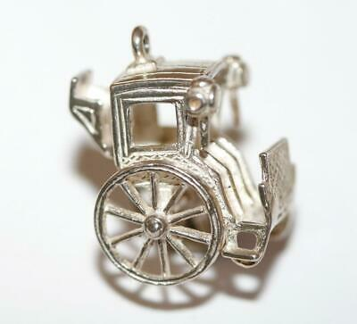 Hansom Carriage Moving Wheels Sterling Silver Vintage Bracelet Charm 3.8g