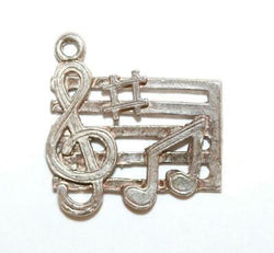 Music Bar With Notes Sterling Silver Vintage Bracelet Charm With Gift Box 1.7g