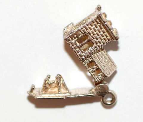 Chim Opening Medieval Tower Church Sterling Silver Vintage Bracelet Charm 2.5g