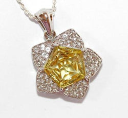Sterling Silver 3.5 ct. Yellow Quartz Star Pendant Necklace Signed TGGC