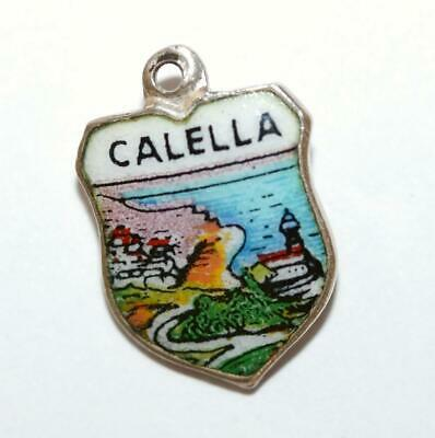 Vintage Calella Spain 800 Silver Enamel Travel Shield Bracelet Charm
