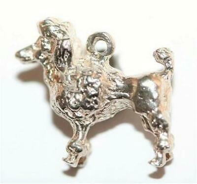 Poodle Dog Sterling Silver Vintage Bracelet Charm With Gift Box, Solid 4.9g