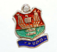 Truro England Ship Sterling Enamel Shield Vintage Charm by BI Silver