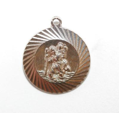 Saint Christopher Medal Sterling Silver Charm Signed GJ Ltd 3.2g