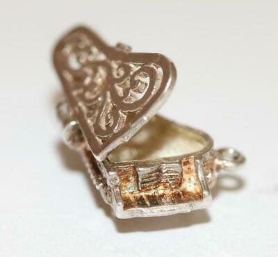 Opening Ornate Grand Piano Sterling Silver 925 Vintage Bracelet Charm 3.9g
