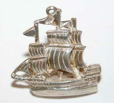 Large Galleon Sailing Ship Sterling Silver Vintage Bracelet Charm 5.5g