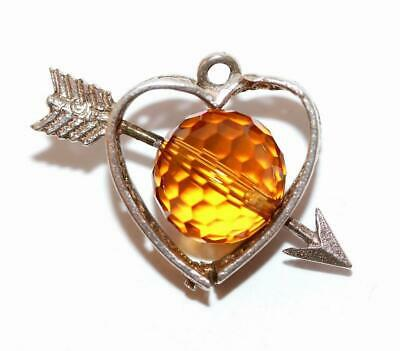 Moving Heart Arrow Spinner Amber Crystal Sterling Silver Spinner Vintage Charm