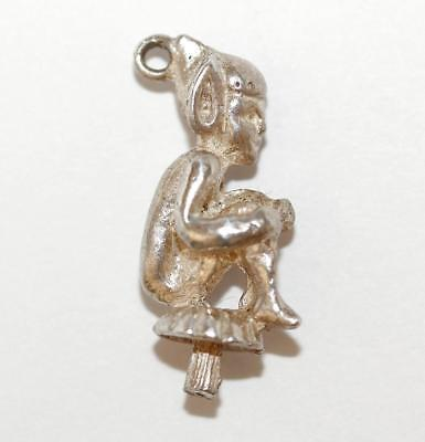 Pixie Sitting On Toadstool Sterling Silver 925 Vintage Bracelet Charm