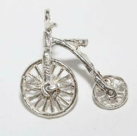 Moving Penny Farthing Bicycle Sterling Silver Vintage Bracelet Charm 2g