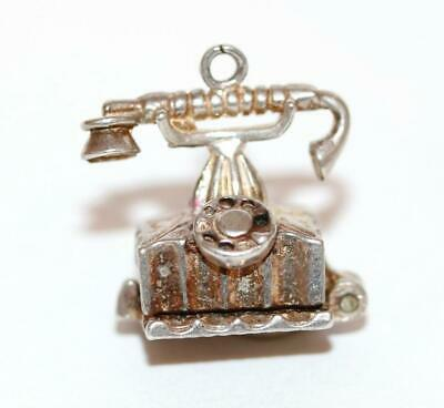 Telephone Opening to Feather Quill Pen Sterling Silver Vintage Bracelet Charm