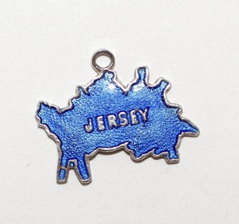 Jersey Channel Islands Map Sterling Silver Vintage Bracelet Charm
