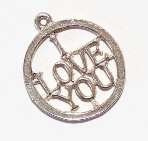 I Love You Message Sterling Silver Vintage Bracelet Charm