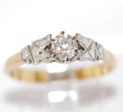 Antique Art Deco .20 ct. Diamond Solitaire Ring In 18k Gold And Platinum c.1920