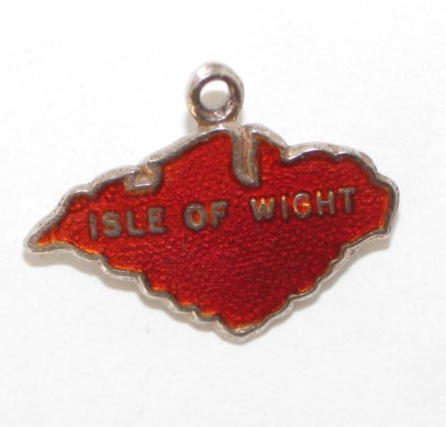 Isle Of Wight England Travel Map Red Enamel Sterling Silver Vintage Charm