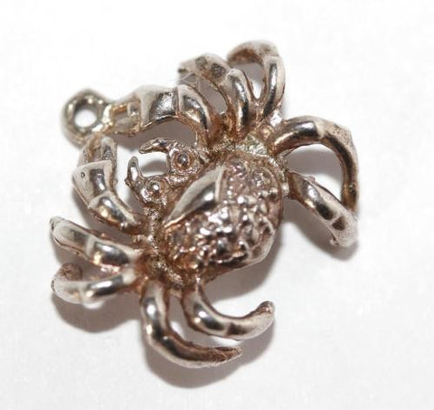 Crab Cancer Zodiac Sign Sterling Silver Vintage Charm Pendant 2.1g