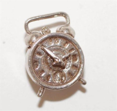 Alarm Clock Moving Hands Sterling Silver Vintage Bracelet Charm