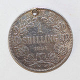 Antique 1894 South Africa One Shilling ZAR Coin Sterling Silver Charm