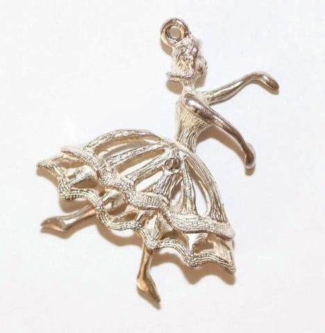 Moving Ballroom Dancer Sterling Silver Vintage Bracelet Charm 4.1g