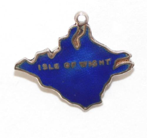 Isle Of Wight England Travel Map Blue Enamel Sterling Silver Vintage Charm