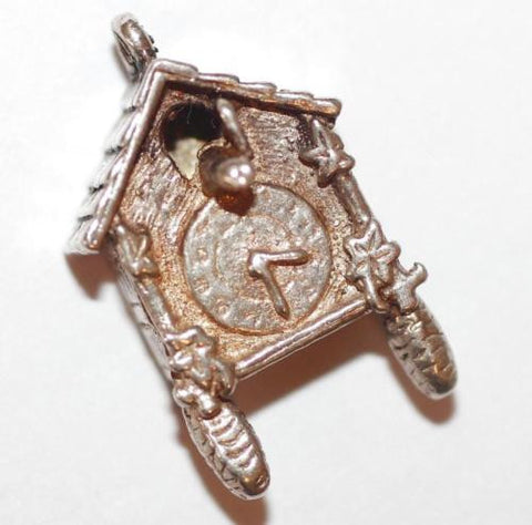 Cuckoo Clock With Bird Sterling Silver Vintage Bracelet Charm 3g