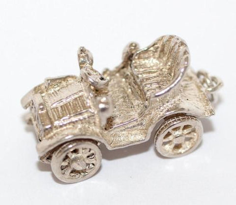 Moving Classic Car Sterling Silver Vintage Bracelet Charm 6.8g