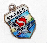 S'Agaró Spain 800 Silver Enamel Travel Shield Vintage Bracelet Charm