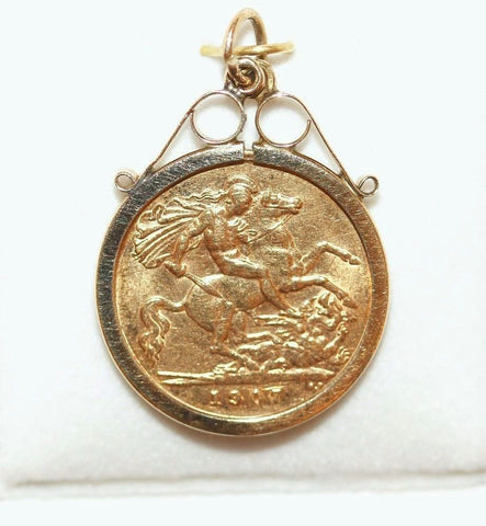 Antique 1907 Edward Half Sovereign 22k Gold Coin Pendant St George Dragon