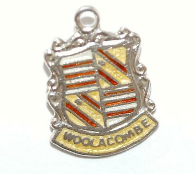 Woolacombe England Sterling Silver Enamel Scroll Travel Shield Vintage Charm