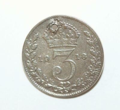 Antique 1918 English 3 Pence Coin Sterling Silver 925 Charm (Genuine)