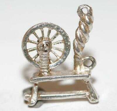 Moving Wool Spinning Wheel Sterling Silver Vintage Bracelet Charm 2.6g