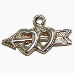 Hearts And Arrow Sterling Silver Vintage Bracelet Charm