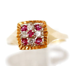 18k Yellow Gold Ruby Diamond Wedding Anniversary Ring Size 8.5 3.9g