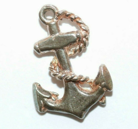 Anchor With Rope Sterling Silver Vintage Bracelet Charm With Gift Box 1.3g