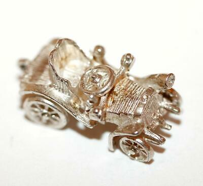 Moving British Sports Car Sterling Silver Vintage Bracelet Charm With Gift Box