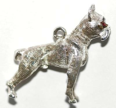 Boxer Dog Sterling Silver 925 Vintage Bracelet Charm Larger 1""