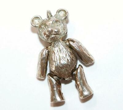 Moving Teddy Bear Sterling Silver Vintage Bracelet Charm With Gift Box 4.5g