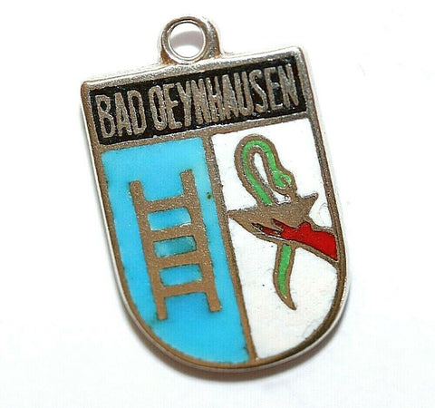 Bad Oeynhausen Germany Sterling Silver Enamel Travel Shield Vintage Charm