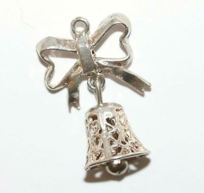 Moving Wedding Bell With Hearts And Bow Sterling Silver Vintage Bracelet Charm