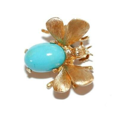 18k Yellow Gold Bee Insect Turquoise Stone Pin Brooch Signed WK