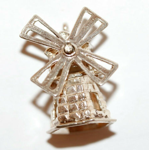 Large Moving Windmill Sterling Silver Vintage Bracelet Charm With Gift Box 5.7g