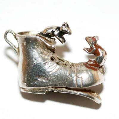 Nuvo Mice Mouse on A Boot Shoe Sterling Silver Enamel Vintage Charm 3.6g